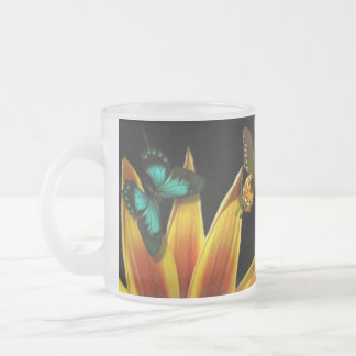 Butterfly Gardens Frosted Glass Coffee Mug