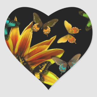 Butterfly Gardens Heart Sticker