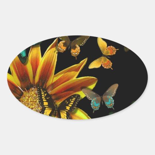 Butterfly Gardens Oval Sticker