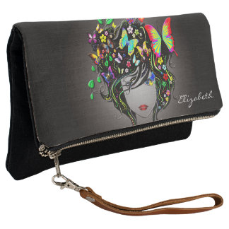 Butterfly Girl 1-1A Options Foldover Clutch