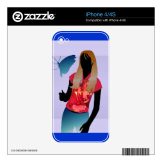 Butterfly girl anime manga silhouette decals for the iPhone 4