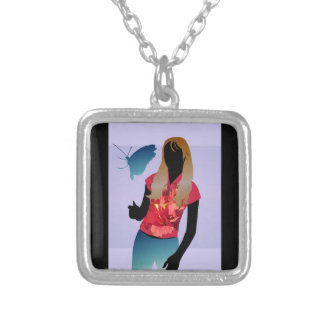 Butterfly Girl anime vector Square Pendant Necklace