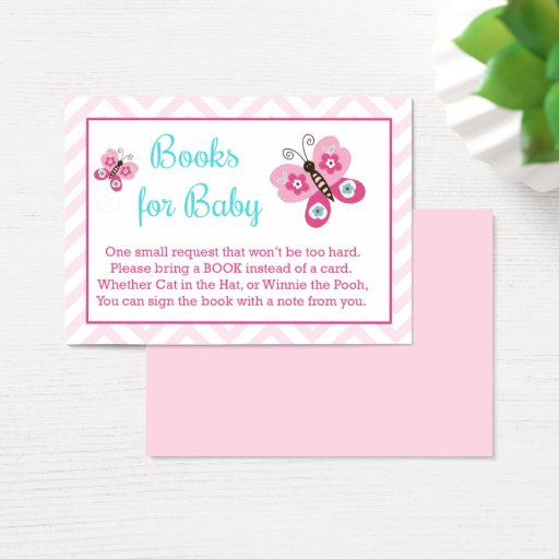 Butterfly Girl Baby Shower Book Request Cards