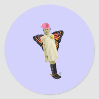 Butterfly Girl Classic Round Sticker