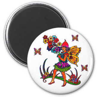 Butterfly Girl Floral Butterflies 2 Inch Round Magnet