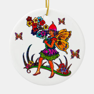 Butterfly Girl Floral Butterflies Double-Sided Ceramic Round Christmas Ornament