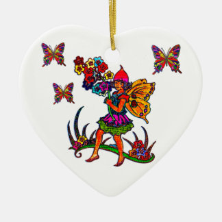 Butterfly Girl Floral Butterflies Double-Sided Heart Ceramic Christmas Ornament