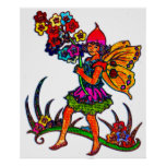 Butterfly Girl Floral Poster
