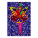 Butterfly Girl in Floral Petal Dress Poster