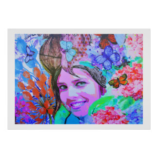 Butterfly girl in Madeira Poster