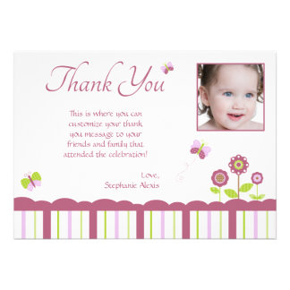 Butterfly girl s photo thank you flat card personalized invites
