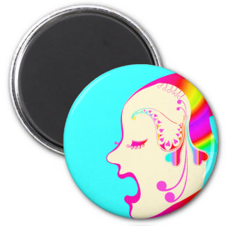 Butterfly girl side face gradation magnet