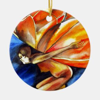 Butterfly girl surreal original fantasy art ceramic ornament