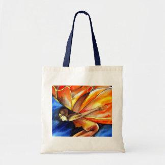 Butterfly girl surreal original fantasy art tote bag