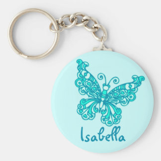 Butterfly girls aqua blue name keychain