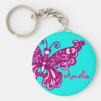 Butterfly girls aqua pink name keychain