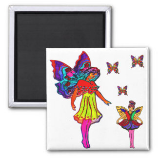 Butterfly Girls Floral Butterflies 2 Inch Square Magnet