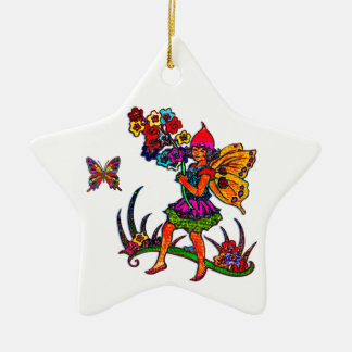 Butterfly Girls Floral Butterflies Double-Sided Star Ceramic Christmas Ornament