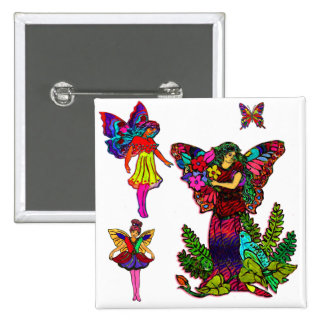 Butterfly Girls Floral Butterfly Pinback Button
