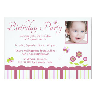 "Butterfly girl's photo birthday party invitation 5"" x 7"" invitation card"