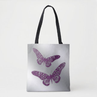 Butterfly Glitter Purple Pretty Tote Bag