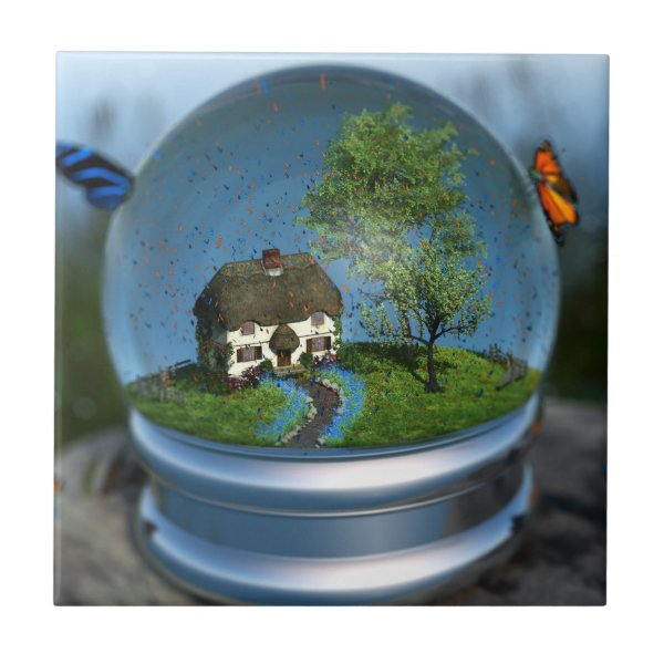 Butterfly Globe Decorative Tile