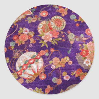 BUTTERFLY GLOBE KIMONO PRINT COLLECTION CLASSIC ROUND STICKER