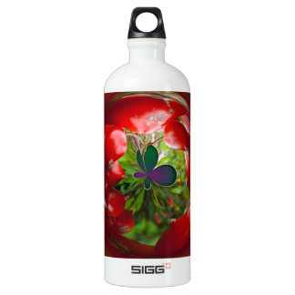 Butterfly Globe with red berries. Aluminum Water Bottle