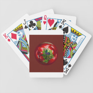 Butterfly Globe with red berries. Bicycle Poker Deck