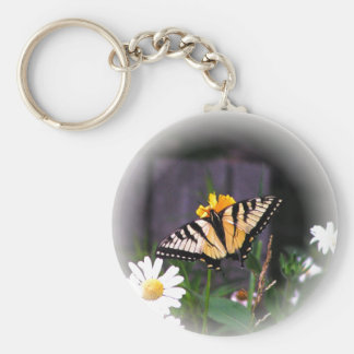Butterfly Globed - white Key Chain