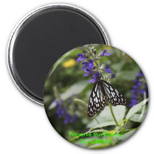 Butterfly - GO GREEN! 2 Inch Round Magnet