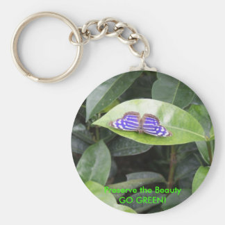Butterfly - GO GREEN! Basic Round Button Keychain