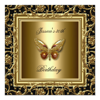 Butterfly Gold 30th Birthday Party Elegant Frame Card
