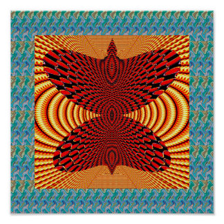 Butterfly Gold Spiral Artistic Abstract Graphic Poster