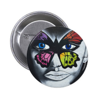 Butterfly graffiti pinback button