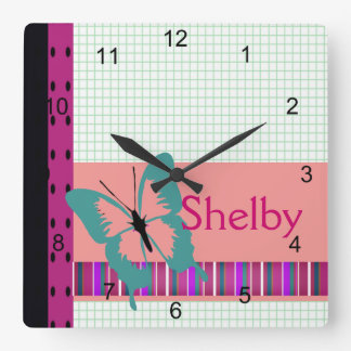 Butterfly & Graph Paper Name Personalize Clock