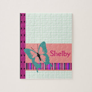 Butterfly & Graph Paper Name Personalize Puzzles