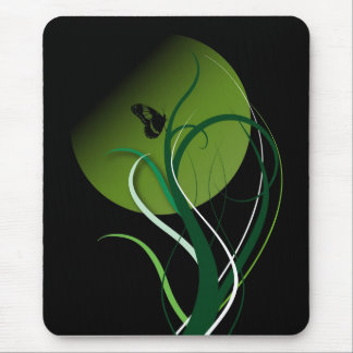 Butterfly green mouse pad