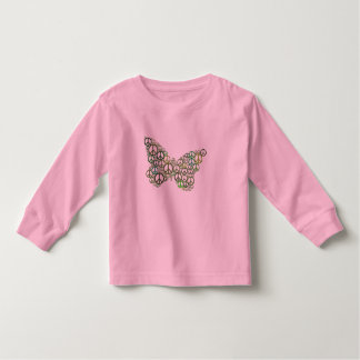 Butterfly Green Peace Long Sleeve Toddler Shirt