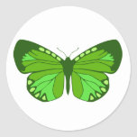 Butterfly Greens Classic Round Sticker
