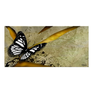 Butterfly Grunge Poster Print
