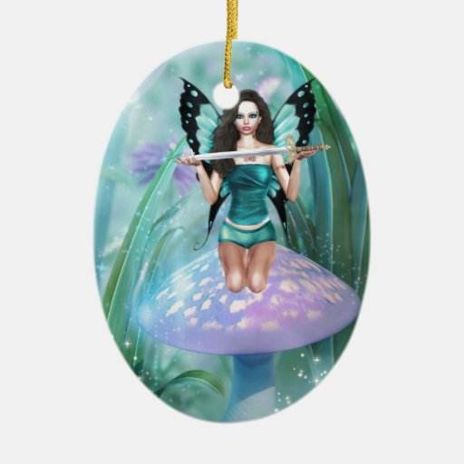 Butterfly Guardian Double-Sided Oval Ceramic Christmas Ornament