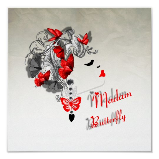 Butterfly Hair Fashion Design Red Black Poster