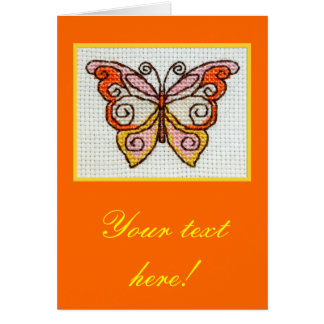 Butterfly hand embroidery cross stitch custom text card