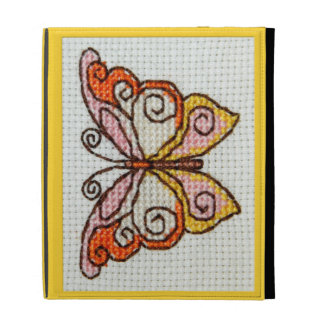 Butterfly hand embroidery cross stitch iPad folio cases