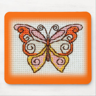 Butterfly hand embroidery cross stitch mouse pad