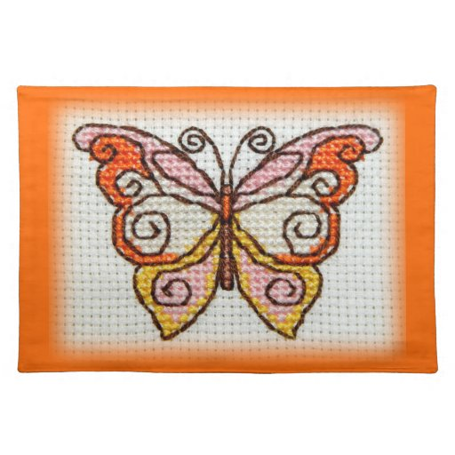 Butterfly Hand Embroidery Cross Stitch Place Mat Zazzle