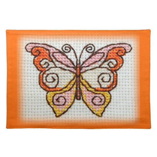 Butterfly hand embroidery cross stitch placemat