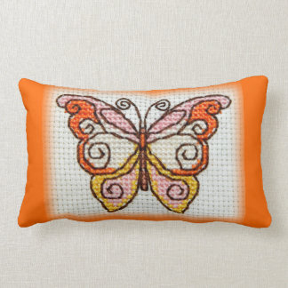 Butterfly hand embroidery cross stitch throw pillow