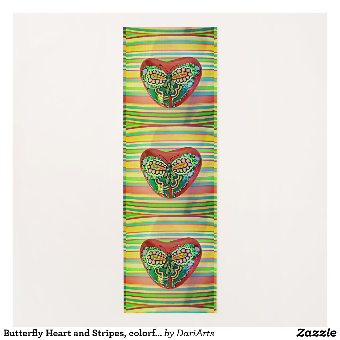 Butterfly Heart and Stripes, colorful art yoga mat
